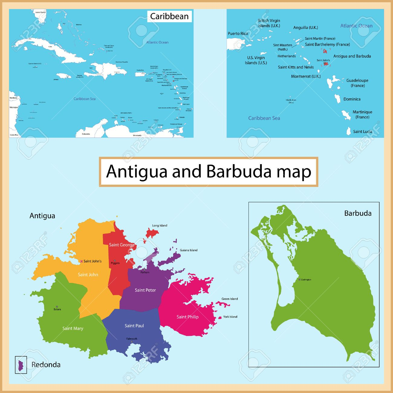 Map Of Antigua And Barbuda Drawn With High Detail And Accuracy - Antigua barbuda map caribbean sea