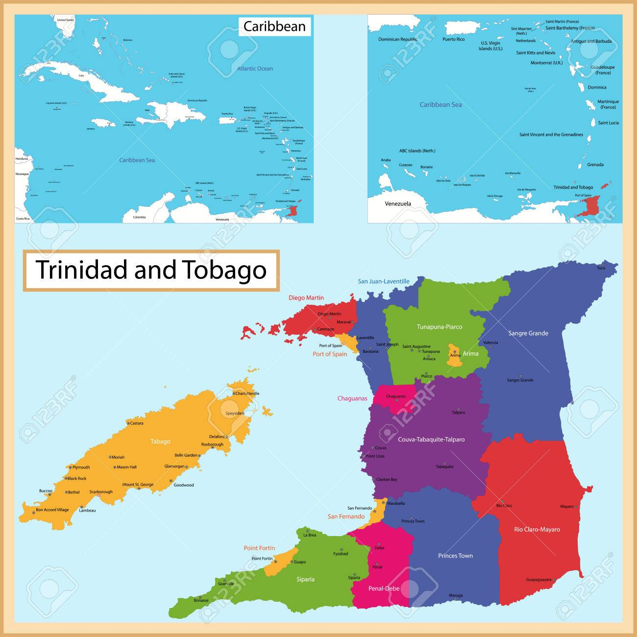 Picture of: Map Of The The Republic Of Trinidad And Tobago Drawn With High Royalty Free Cliparts Vectors And Stock Illustration Image 30683063