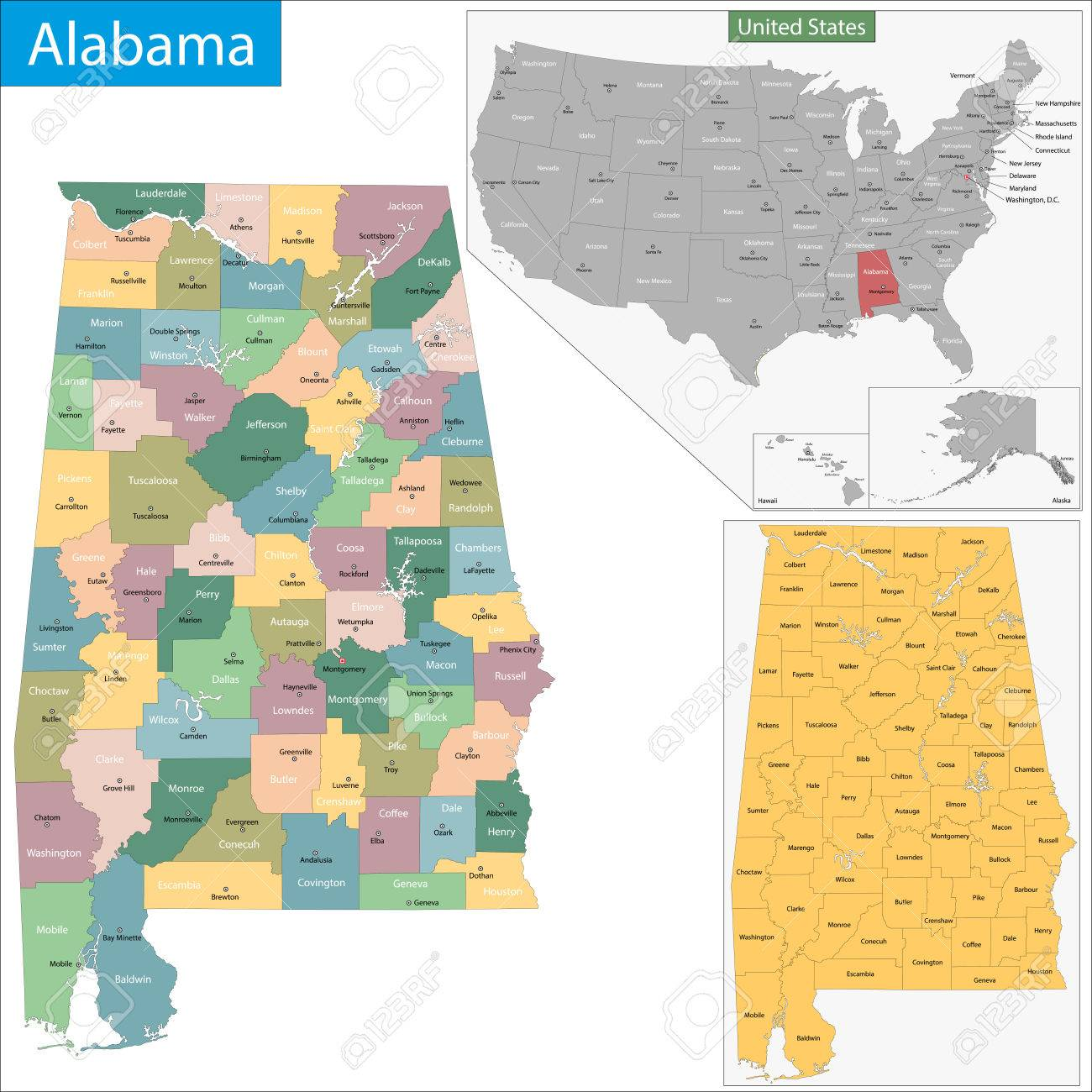Alabama State Map By County.Map Of Alabama State Designed In Illustration With The Counties
