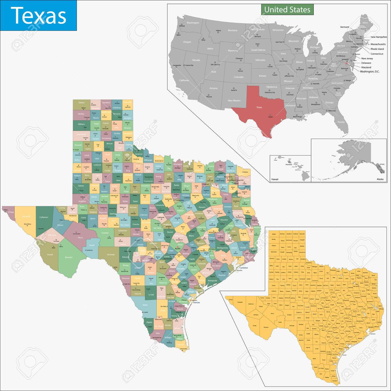 Map Of Texas State Designed In Illustration With The Counties - Texas state map with counties