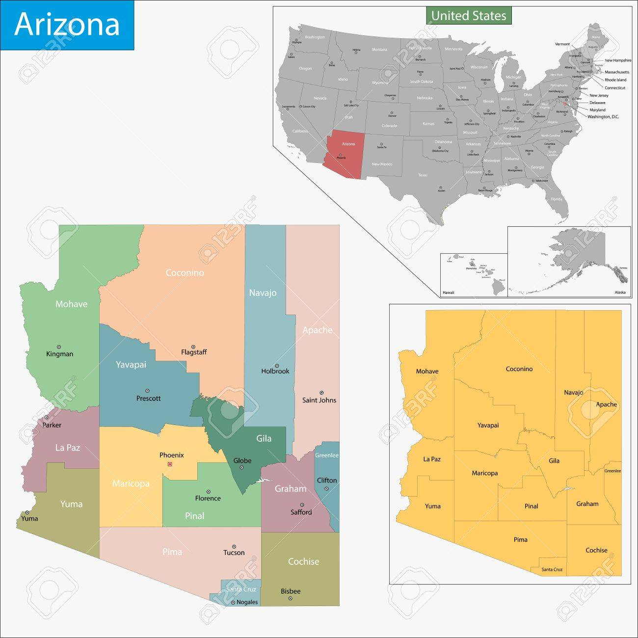 Map Of Arizona State Designed In Illustration With The Counties - Arizona state map with counties
