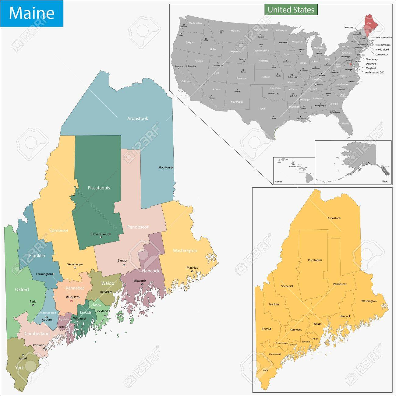 Map Of Maine State Designed In Illustration With The Counties - Maine county map