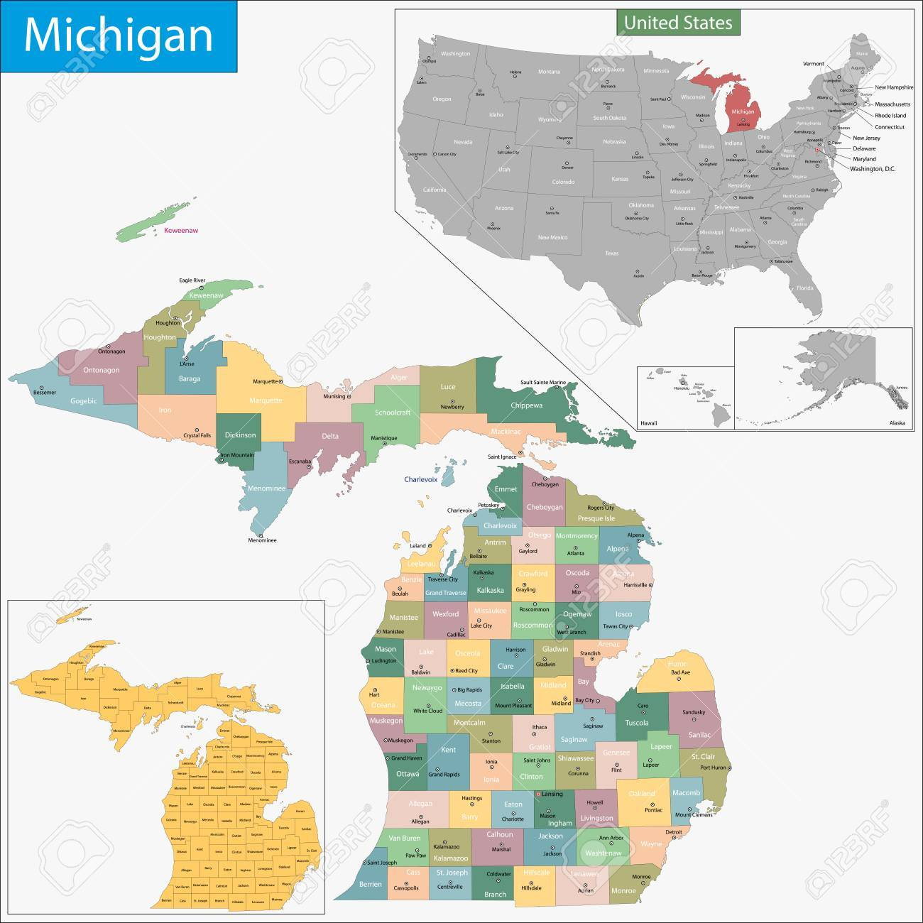 Michigan State On Usa Map Michigan Stock Vector 321233885 Where