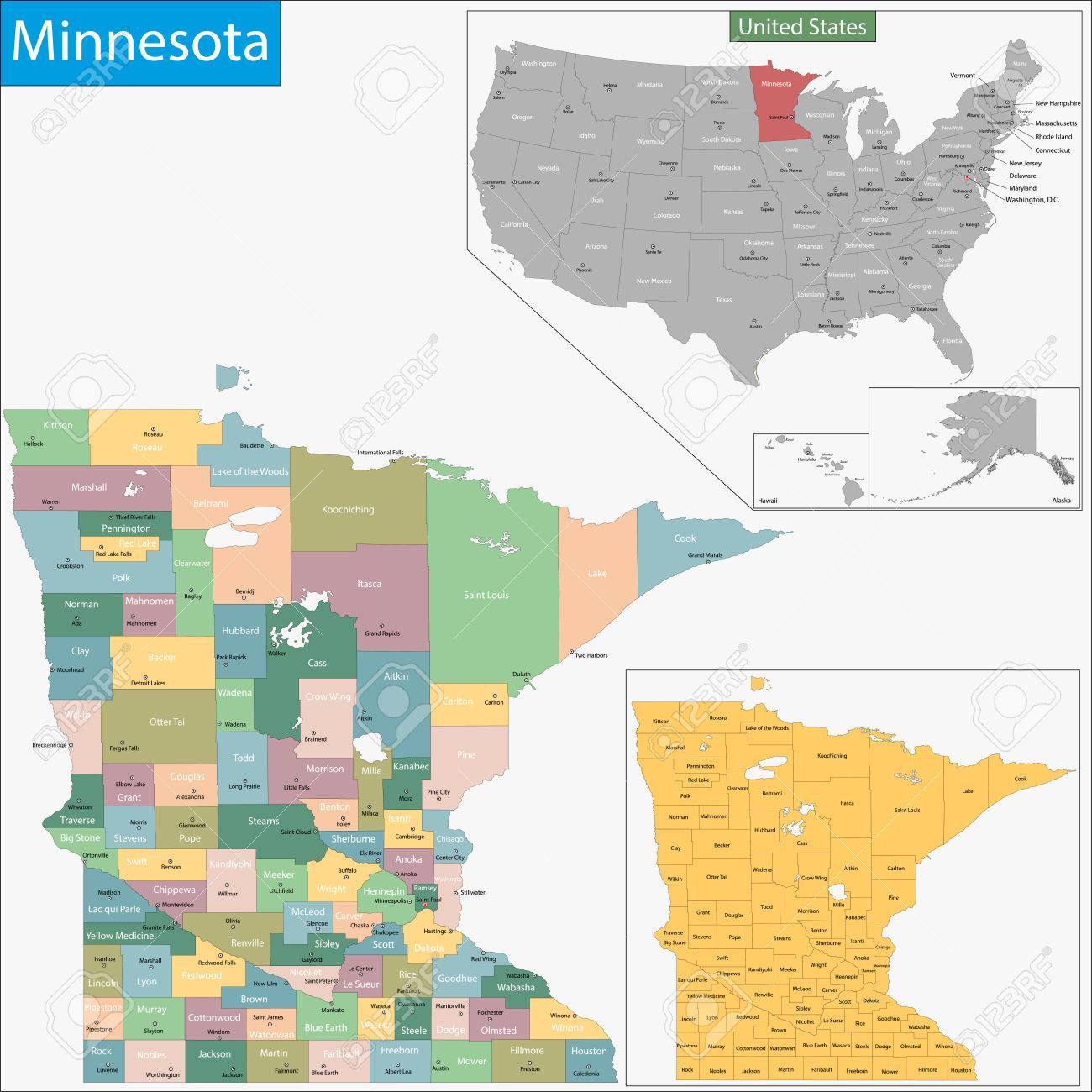 Map Of Minnesota State Designed In Illustration With The Counties - County map of minnesota