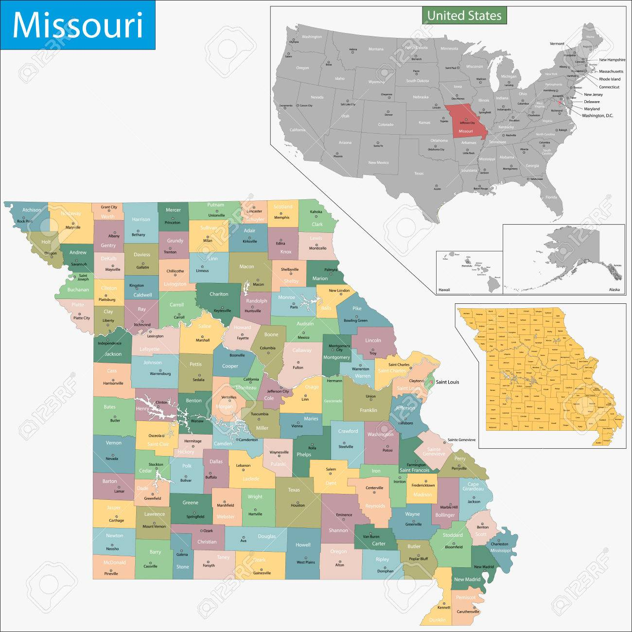 Map Of Missouri State Designed In Illustration With The Counties - Missouri county map