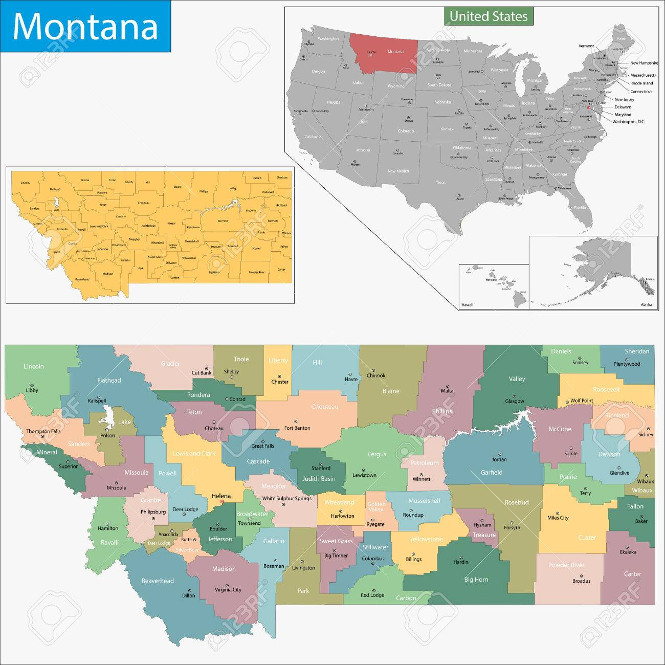 Montana State Map With Counties.Map Of Montana State Designed In Illustration With The Counties