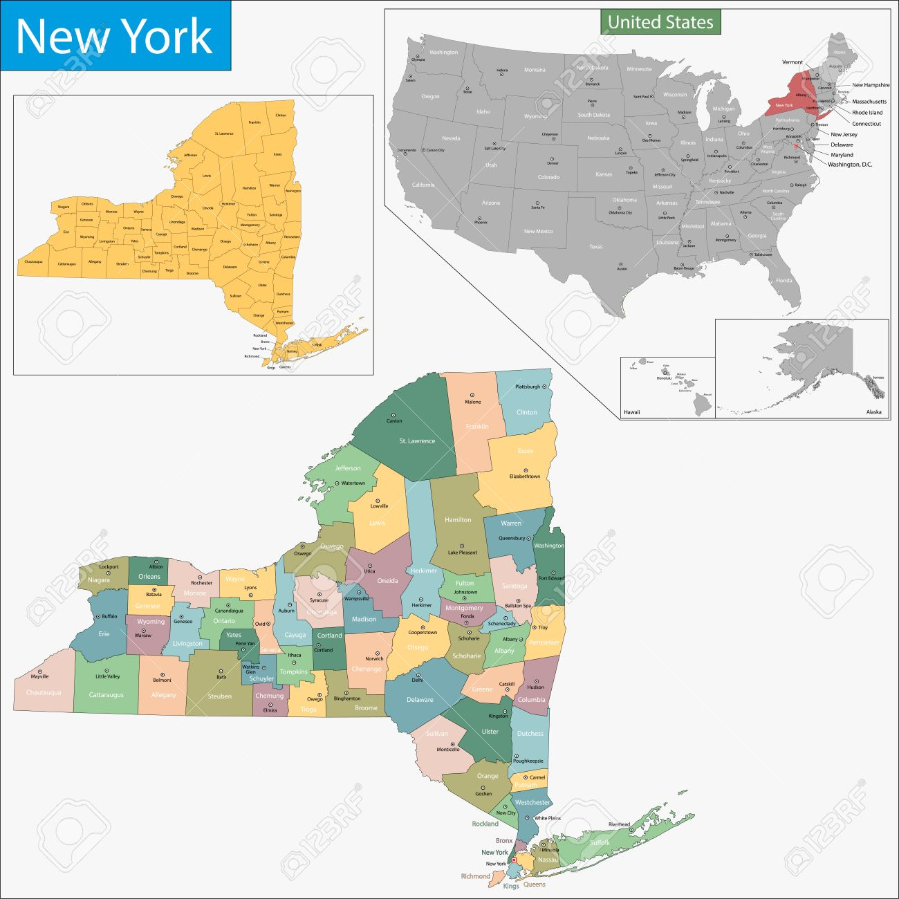 Map Of New York State Designed In Illustration With The Counties - New york state map with counties
