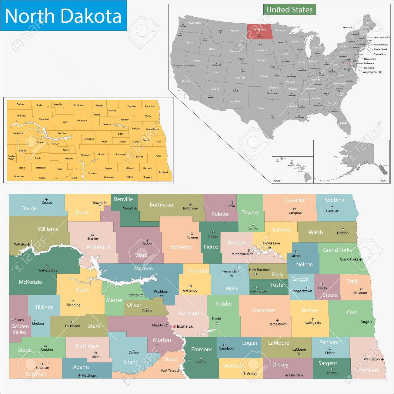 Map Of North Dakota State Designed In Illustration With The Counties ...