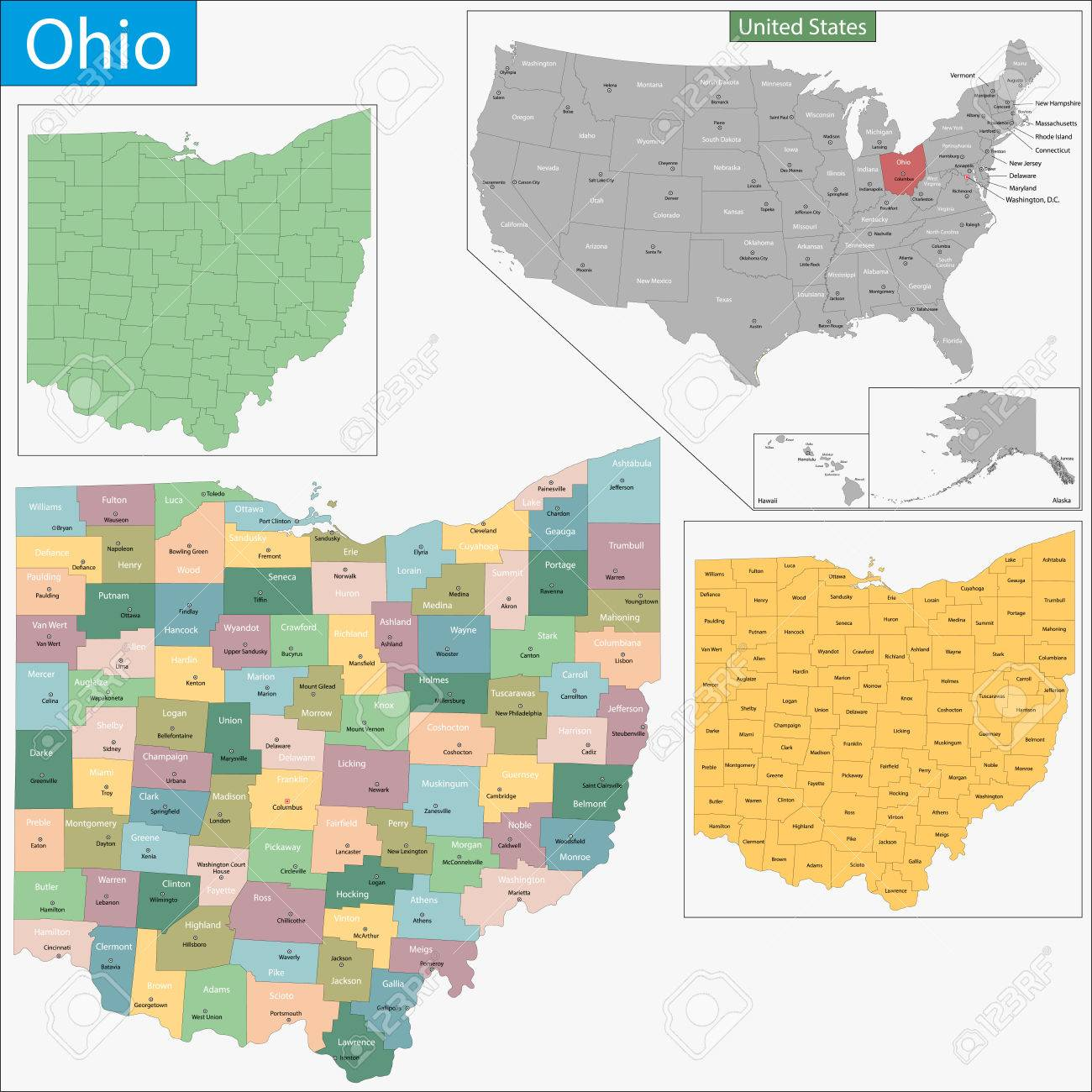 Map Of Ohio State Designed In Illustration With The Counties - Ohio map counties