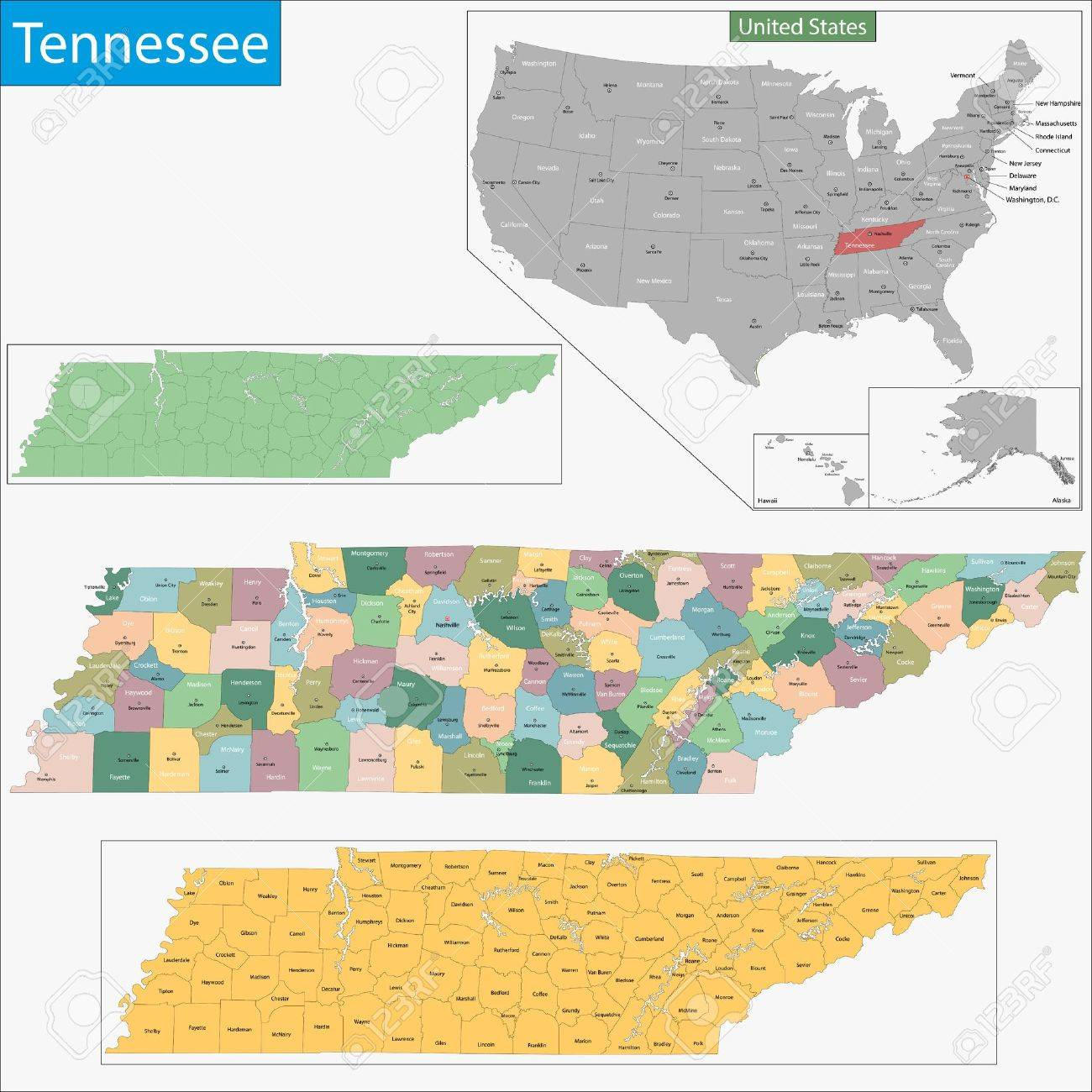 Map Of Tennessee State Designed In Illustration With The Counties