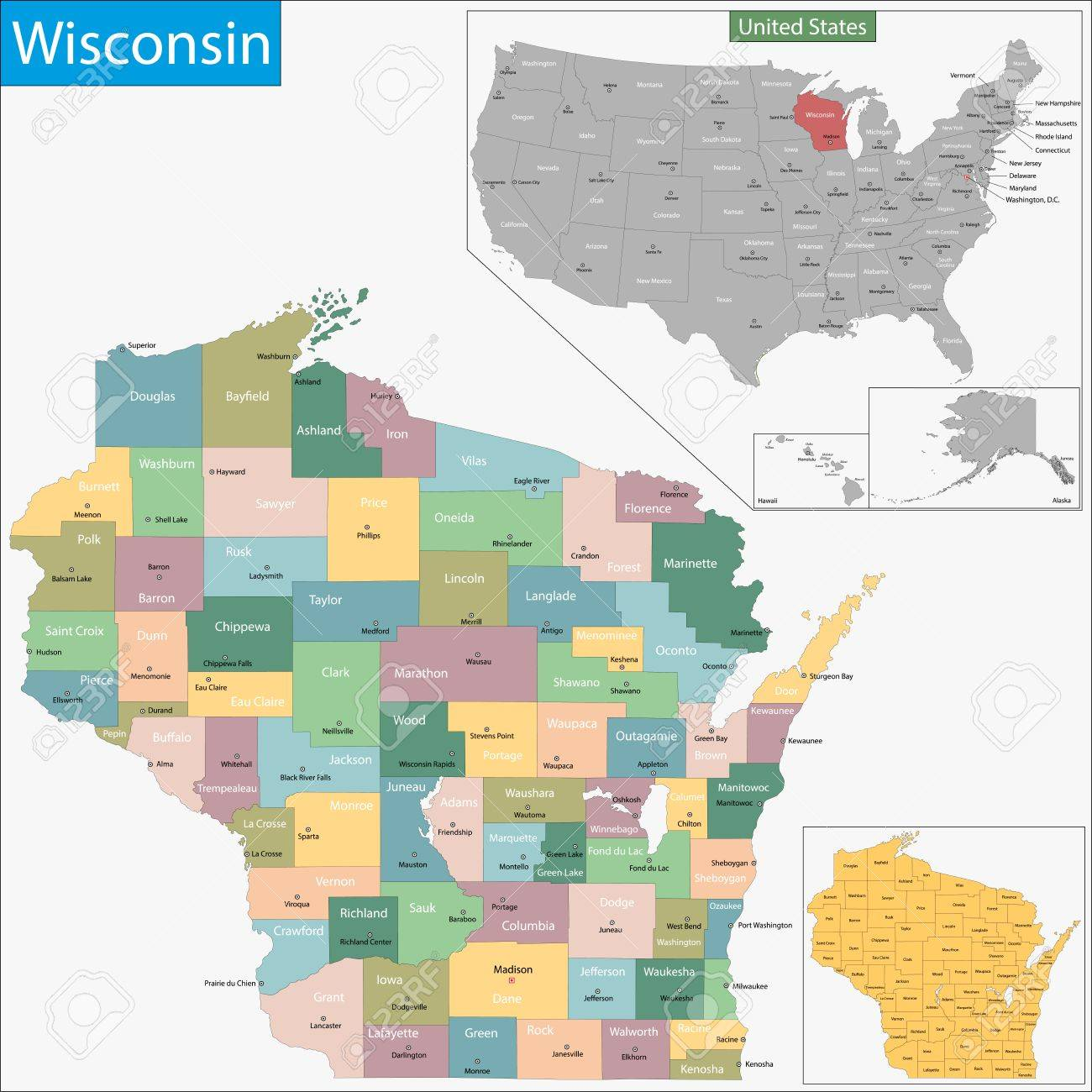 Map Of Wisconsin State Designed In Illustration With The Counties