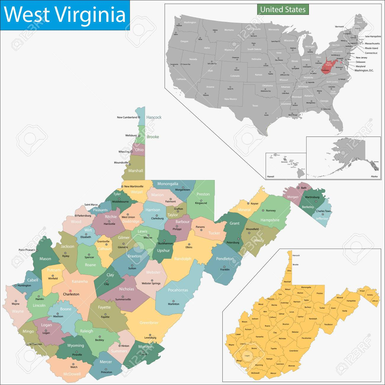 Map Of West Virginia State Designed In Illustration With The - State of west virginia map