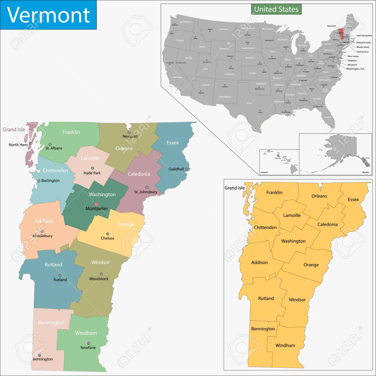 Map of Vermont state designed in illustration with the counties..
