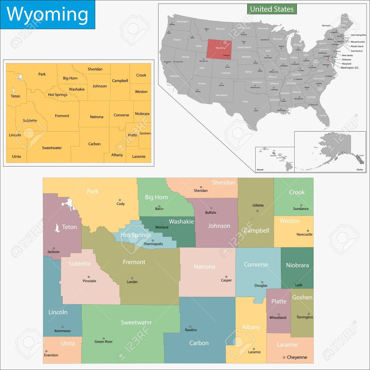 Map Of Wyoming State Designed In Illustration With The Counties - Map wyoming counties