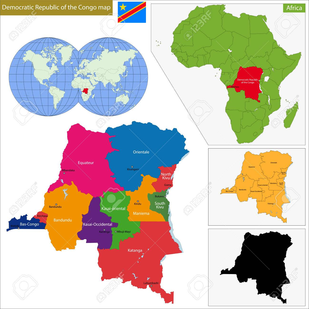 Map Of Democratic Republic Of The Congo With High Detail And