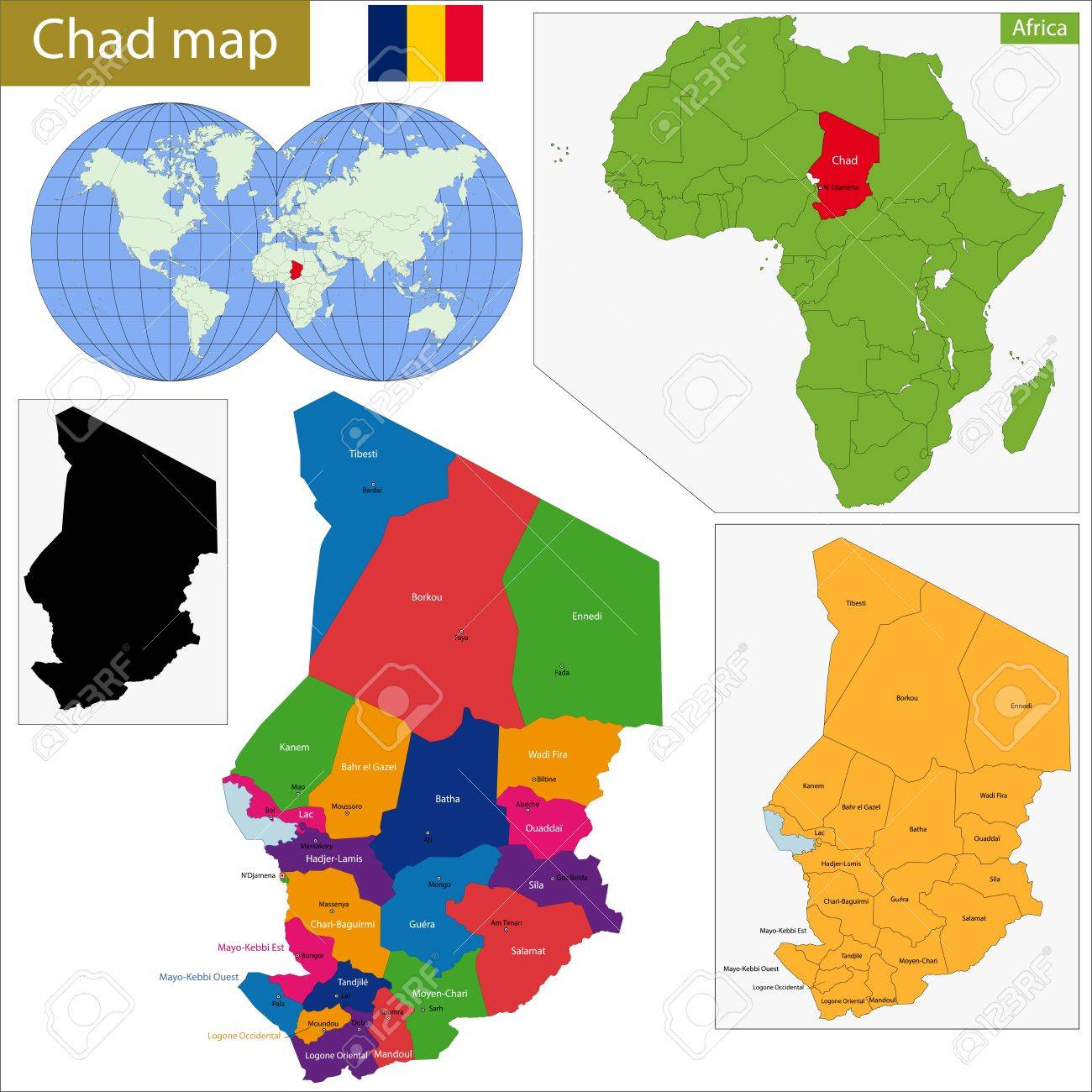 Chad Map With High Detail And Accuracy And It Is Divided Into - Chad map