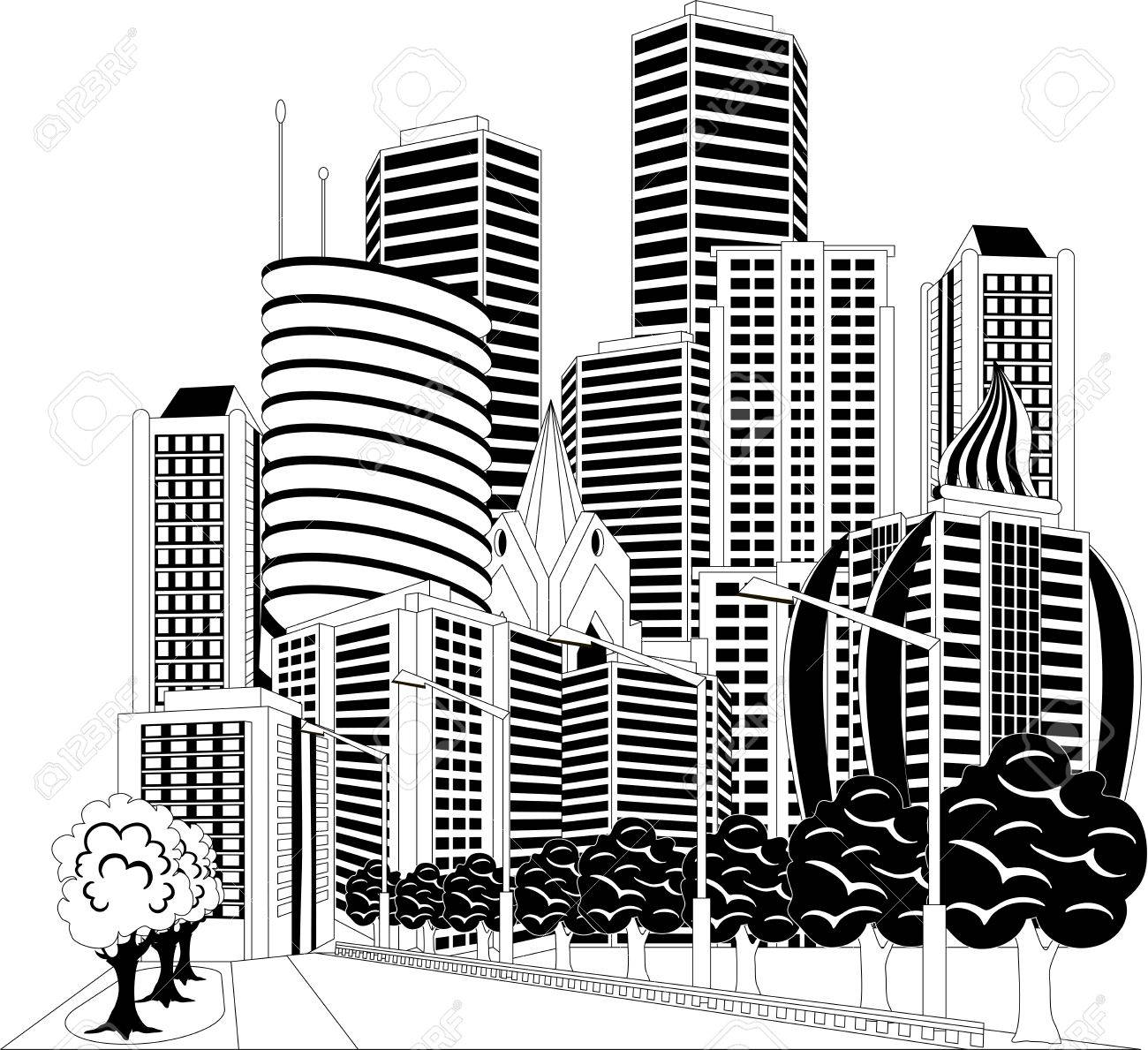 Modern city downtown green centre Clipart Image