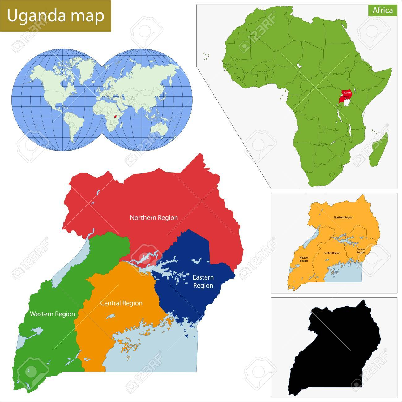 Administrative Division Of The Republic Of Uganda Royalty Free
