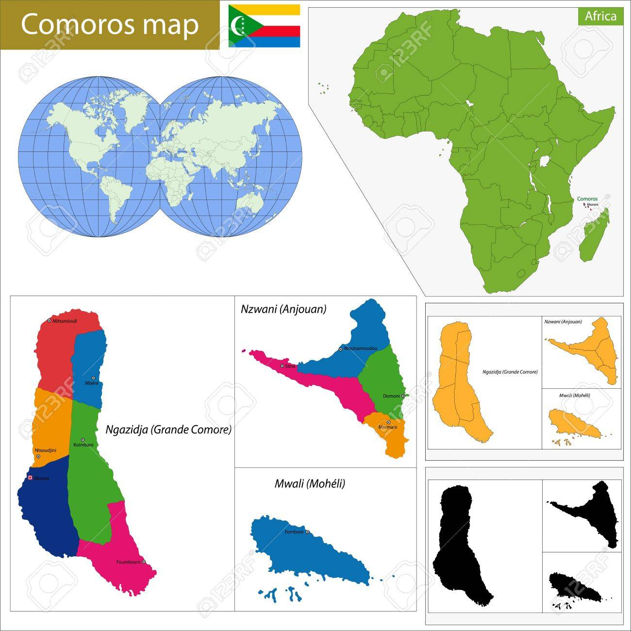 Administrative Division Of The Union Of The Comoros Royalty Free