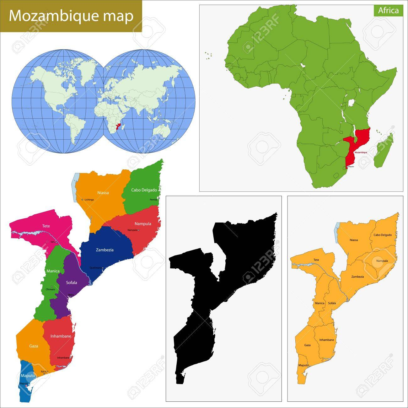 Administrative Division Of The Republic Of Mozambique Royalty Free