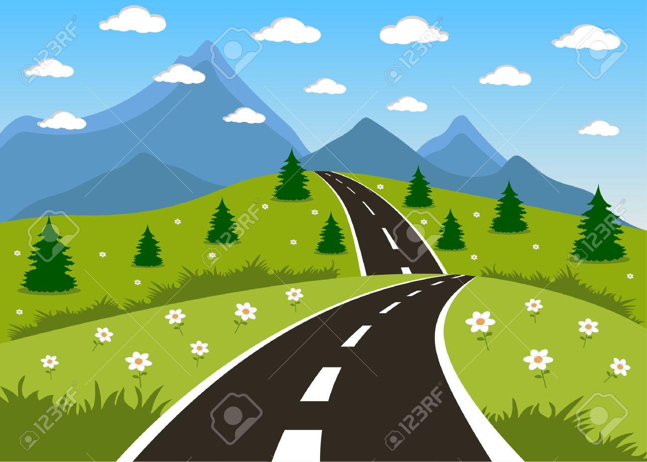 Dessin De Route illustration d'un été de dessin animé ou une route de printemps à la