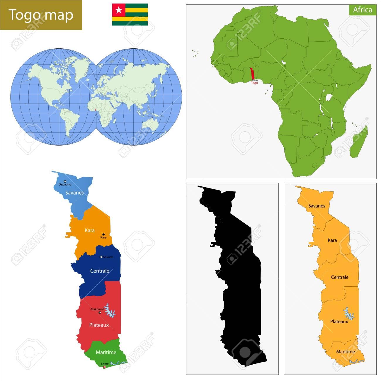 カラフルな地図、トーゴ共和国の...