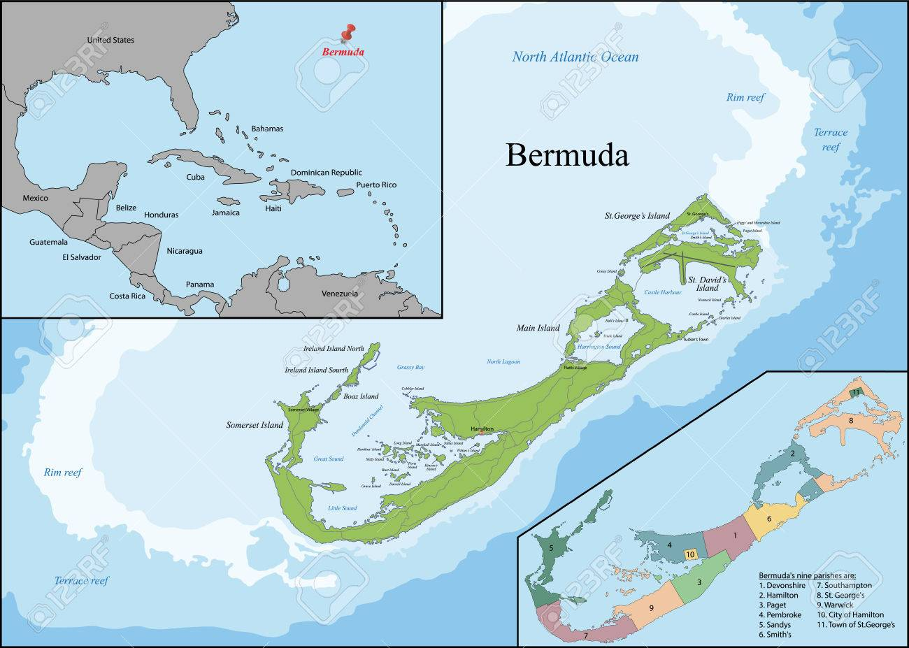 Bermuda Is A British Overseas Territory In The North Atlantic - Bermuda islands map
