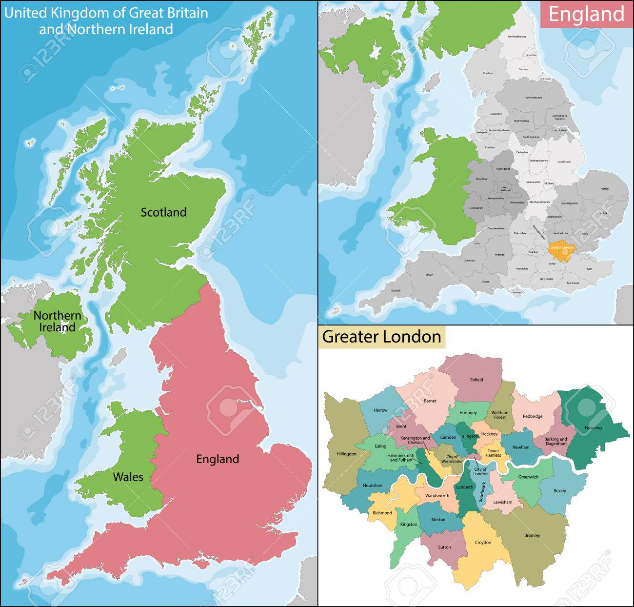 London On The Map Of England.Map Of The Subdivisions Of England With The Greater London That