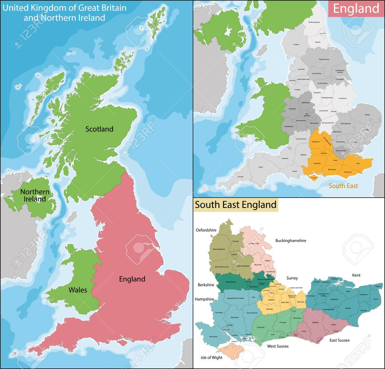 Map Of England South.Map Of The Subdivisions Of England With The South East That Is
