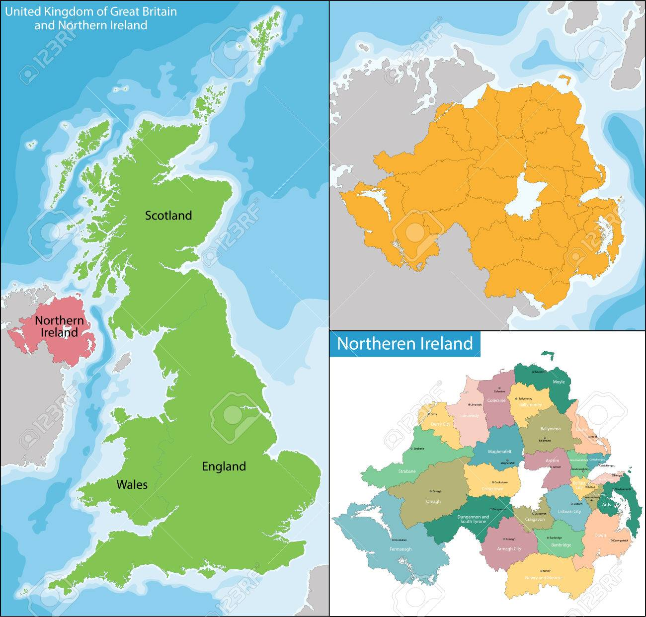 Cartina Regno Unito E Irlanda Del Nord.Vettoriale Irlanda Del Nord E Una Unita Costituente Del Regno Unito Di Gran Bretagna E Irlanda Del Nord Nel Nord Est Dell Isola D Irlanda Image 59895746