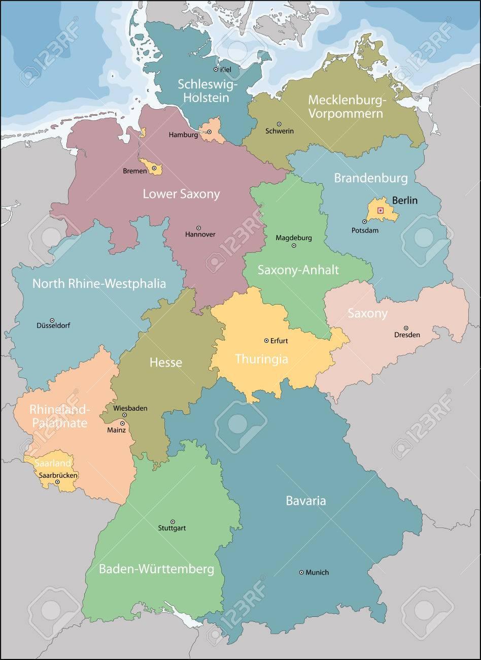 Regioni Germania Cartina.Vettoriale Germania Mappa Con Le Regioni E Le Principali Citta Image 60536821