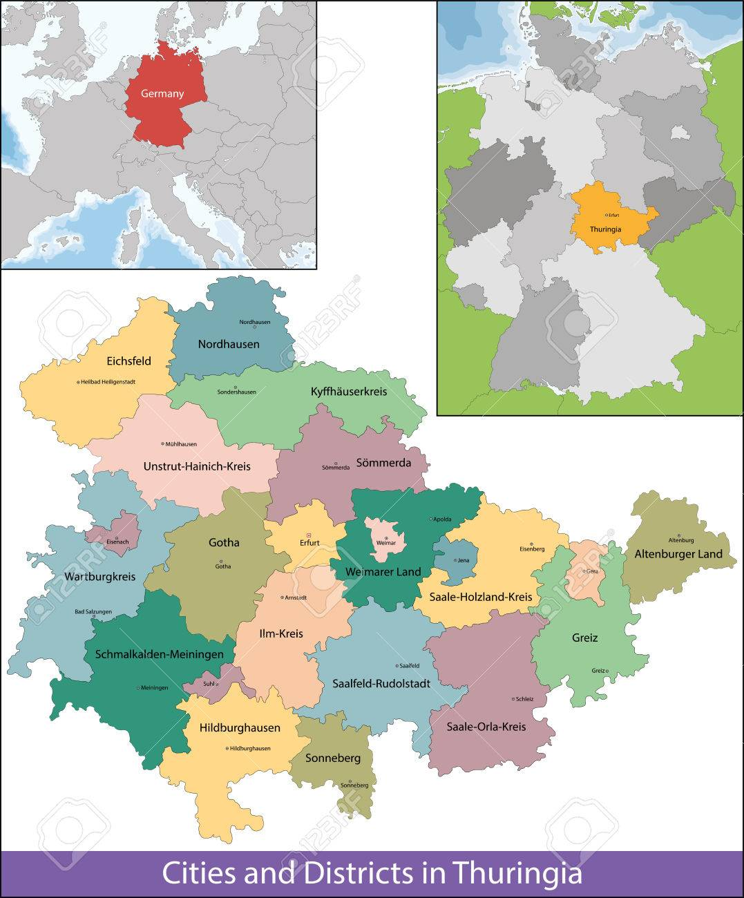 Central Germany Map.The Free State Of Thuringia Is A Federal State In Central Germany
