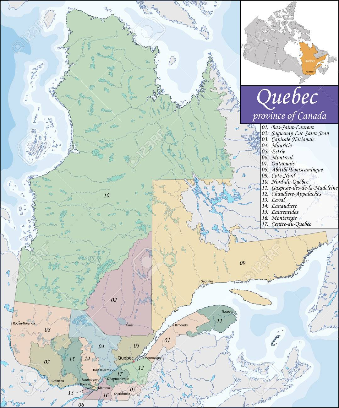 Quebec Karte.Stock Photo