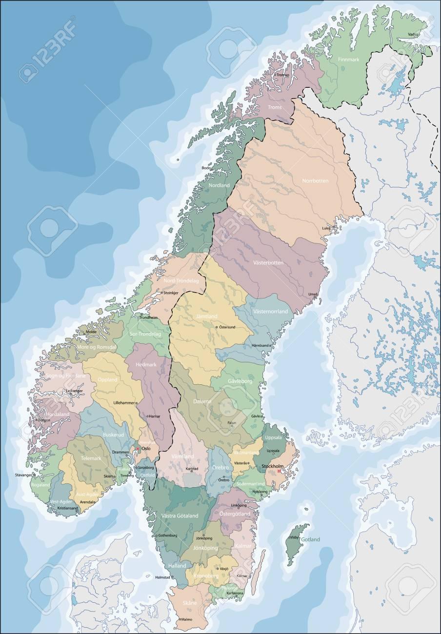 Carte Norvege Suede.Carte De Norvege Et De Suede Vecteur Illustration