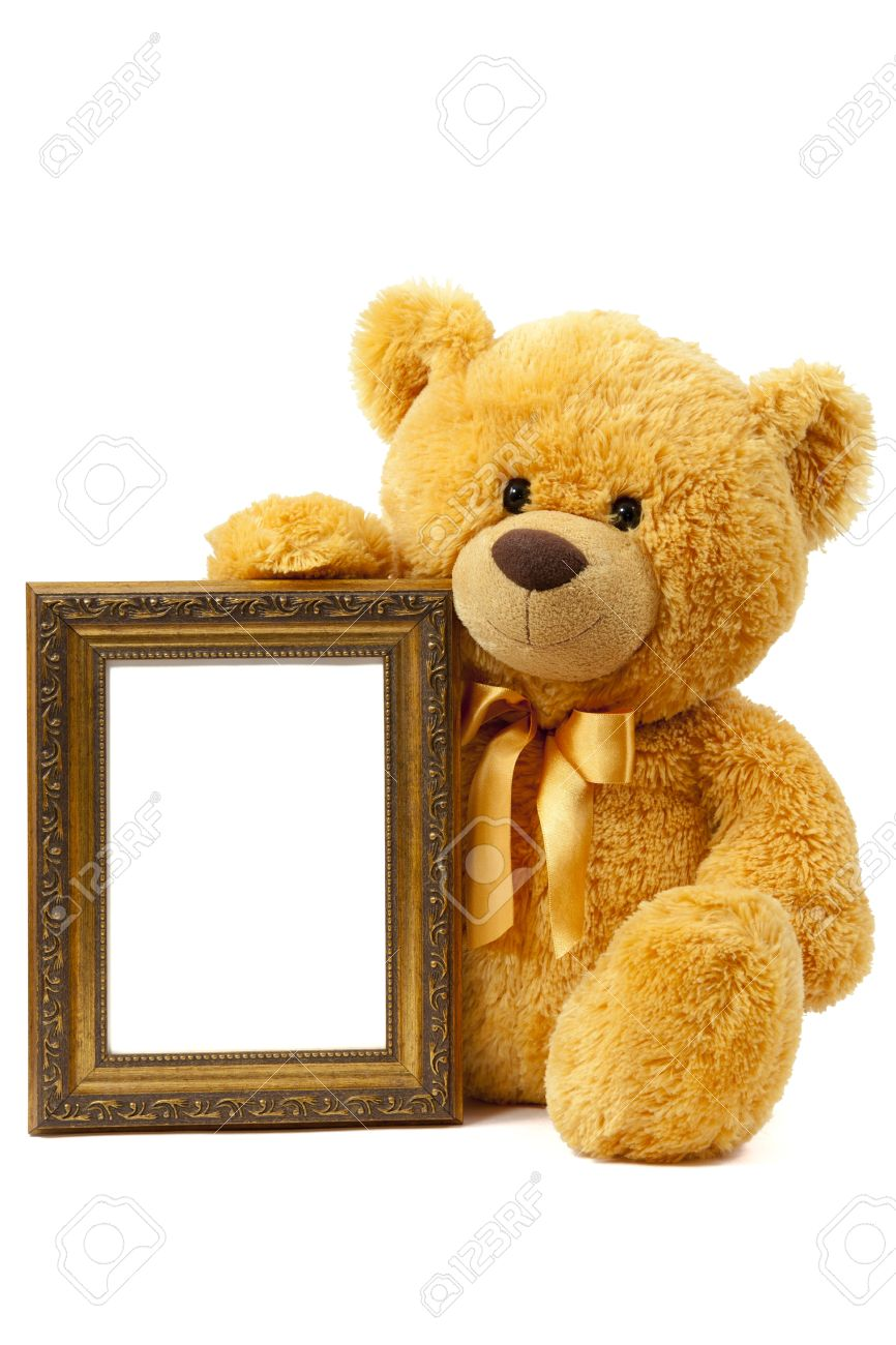 Teddy Bear With A Frame On A White Background Stock Photo, Picture ...
