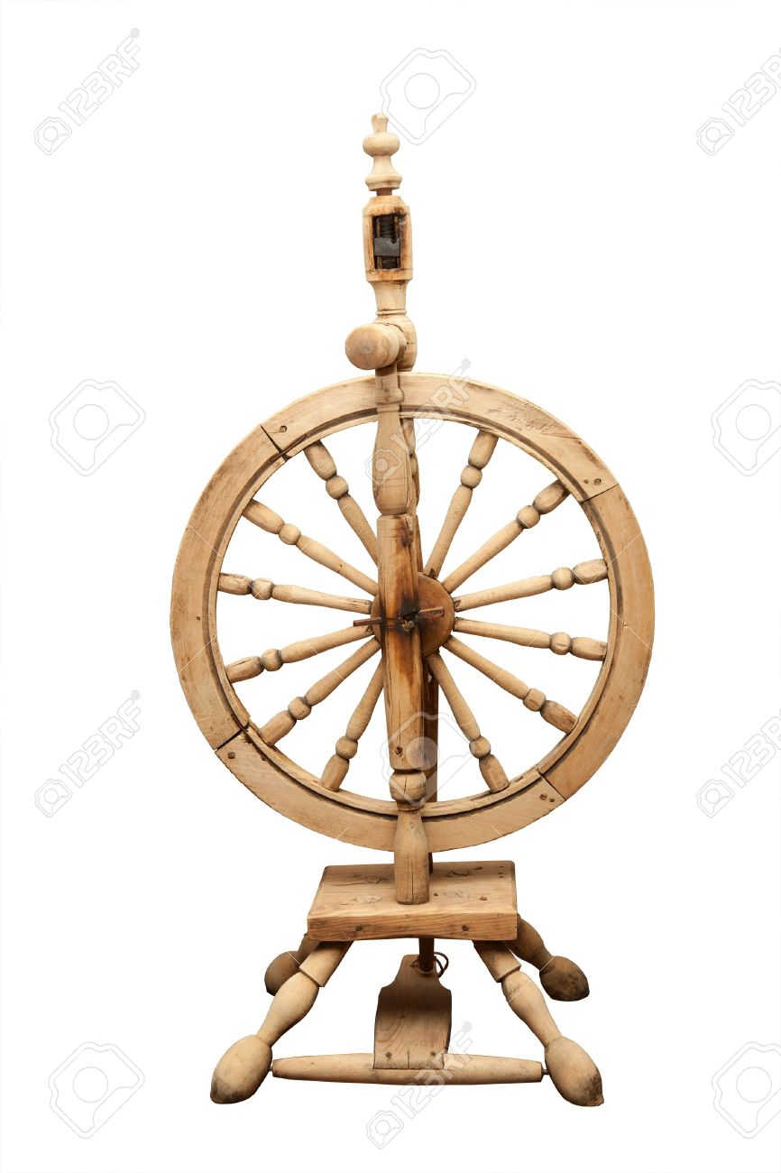 Wooden Old Spinning Wheel On A White Background Stock Photo Picture And Royalty Free Image Image 17299044
