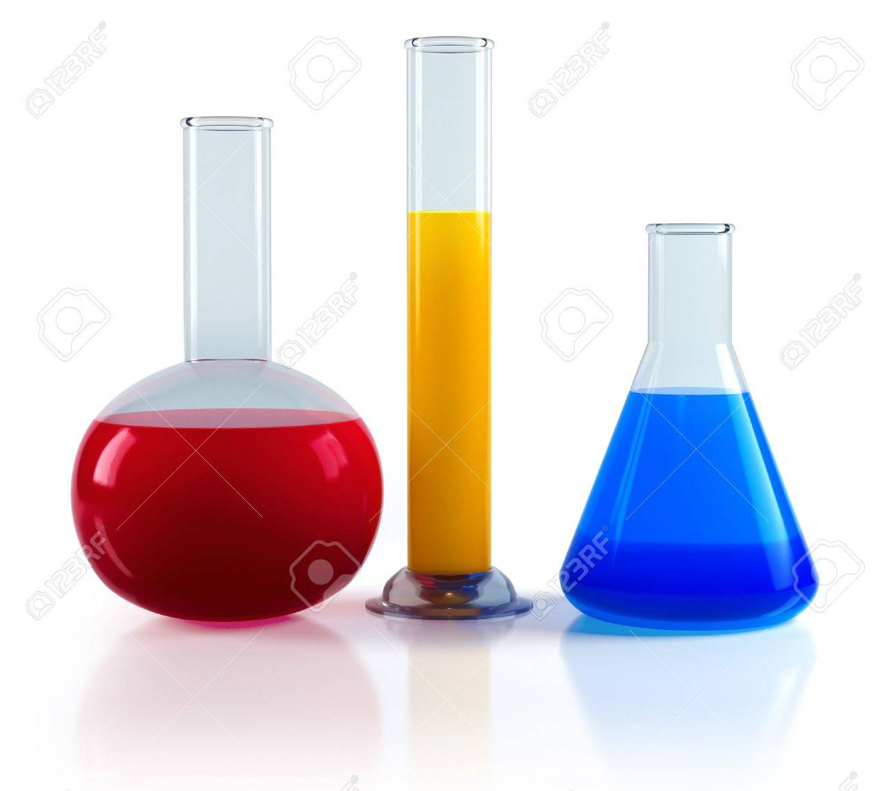 Chemical flasks with reagents Stock Photo - 9959867