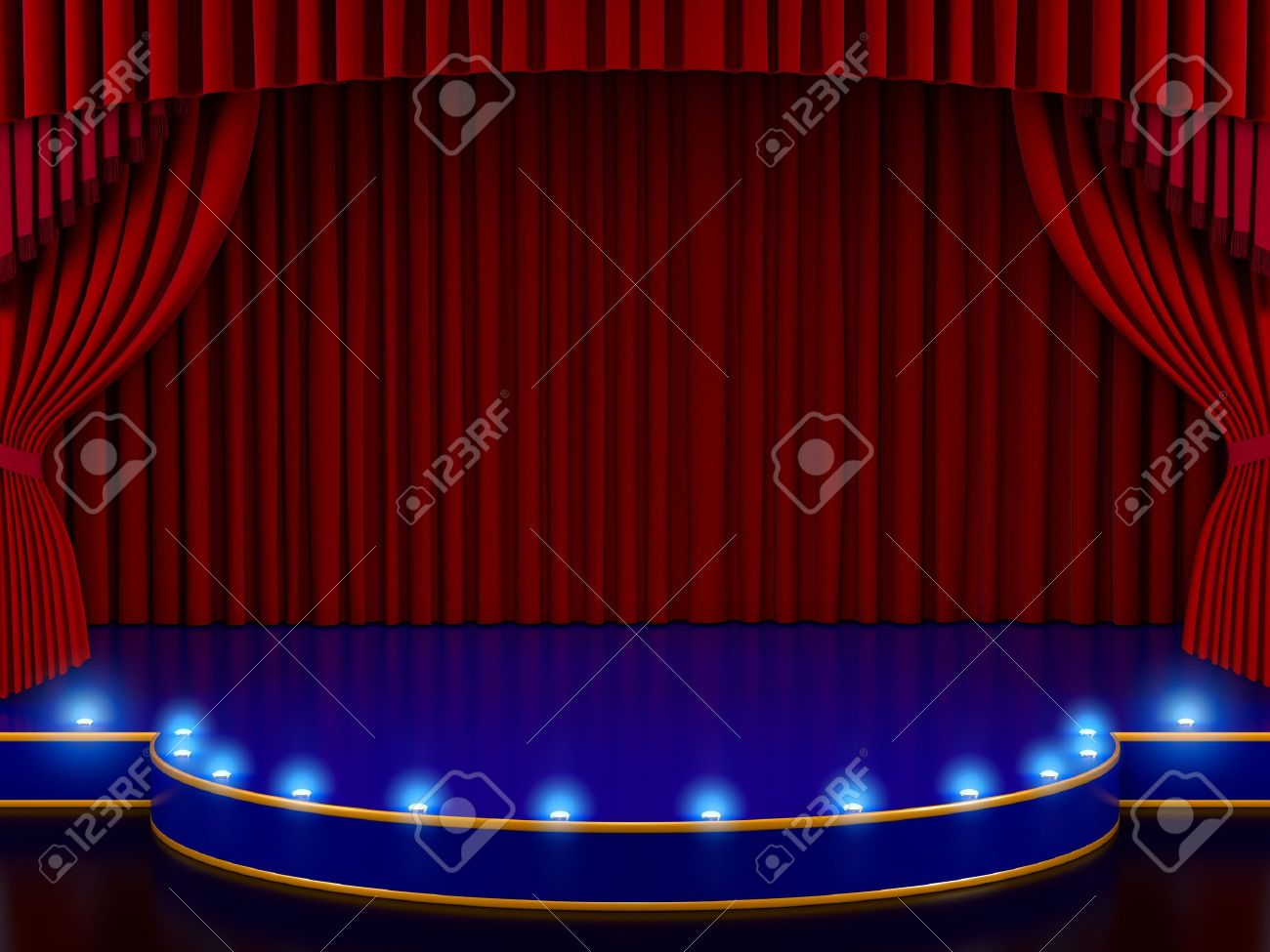 Red stage curtain with lights - Empty Stage With Red Curtain 3d Render Stock Photo 9959888
