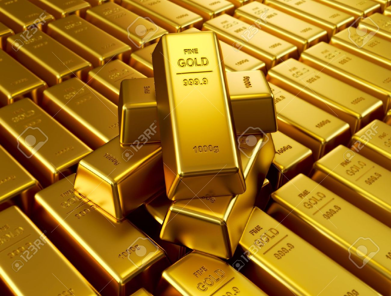 Stacked gold bars Stock Photo - 12621384