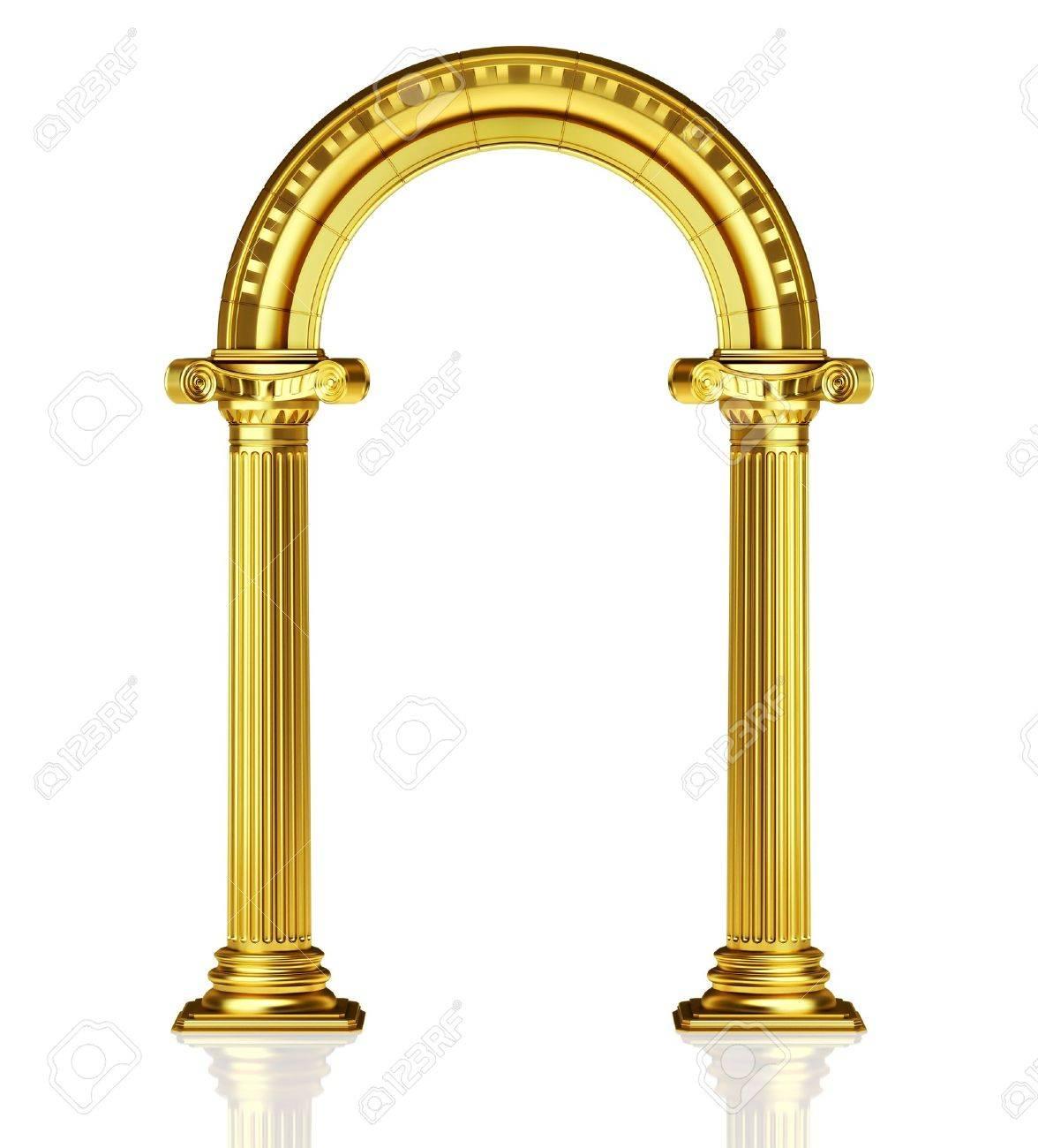 Gold Column Vector Golden Arch Gold Columns