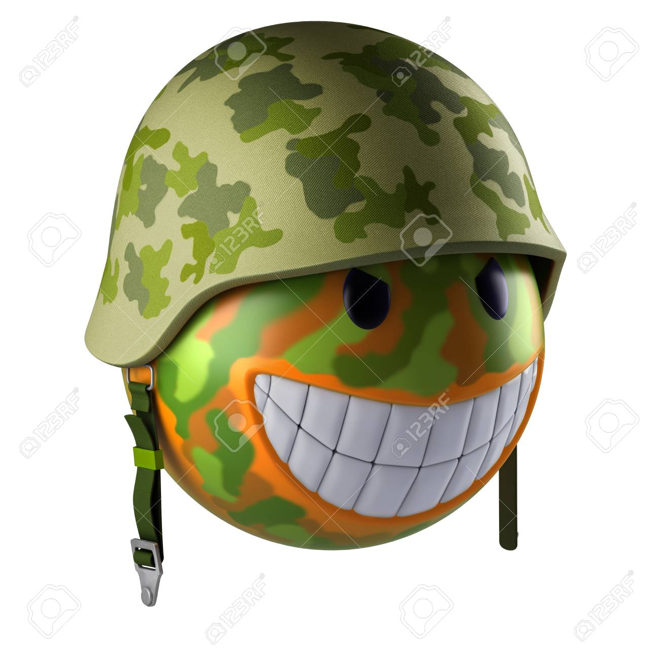 Smiley face sphere with military helmet 3d render
