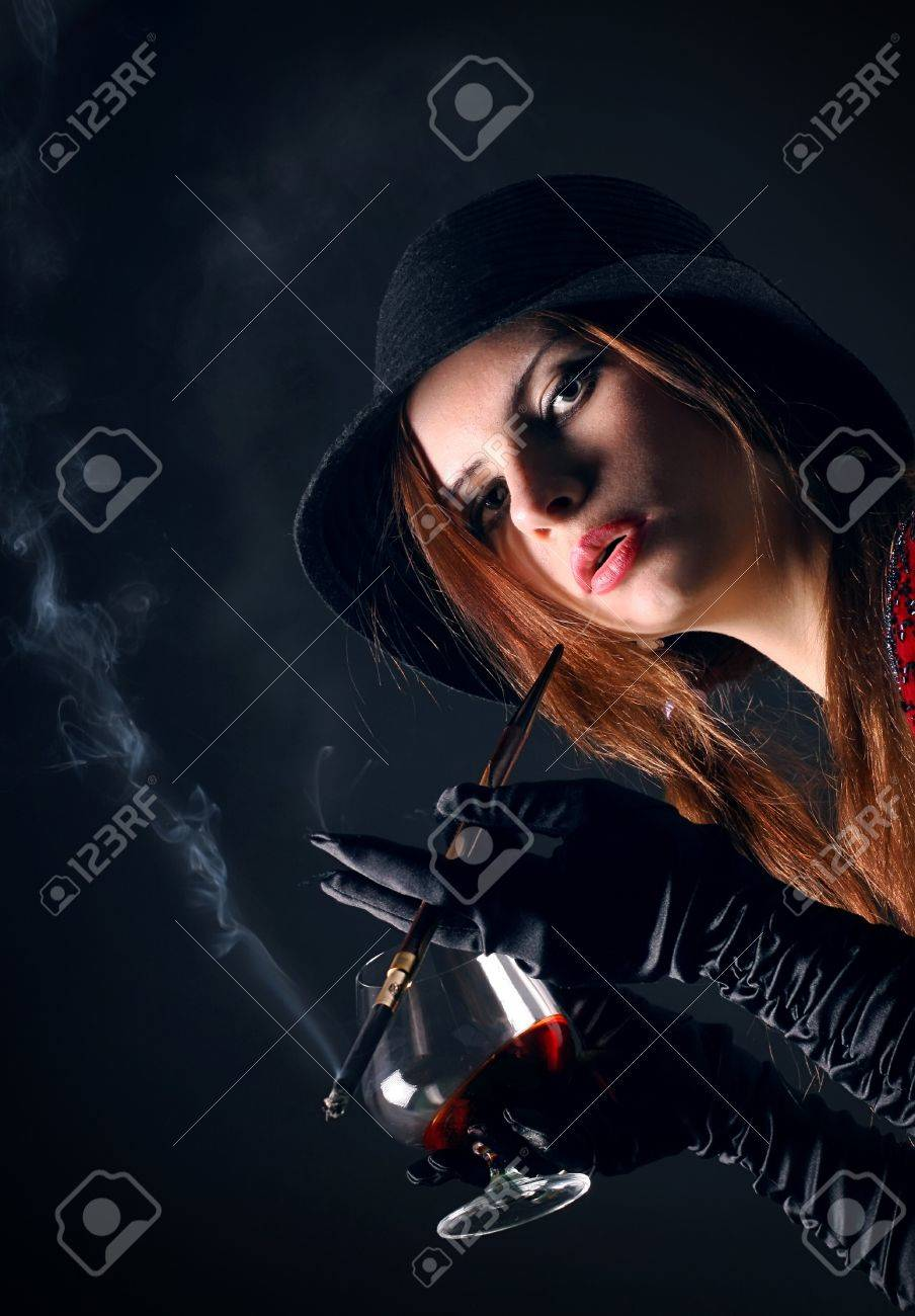 Portrait of the girl in an image of the gangster Stock Photo - 4074772