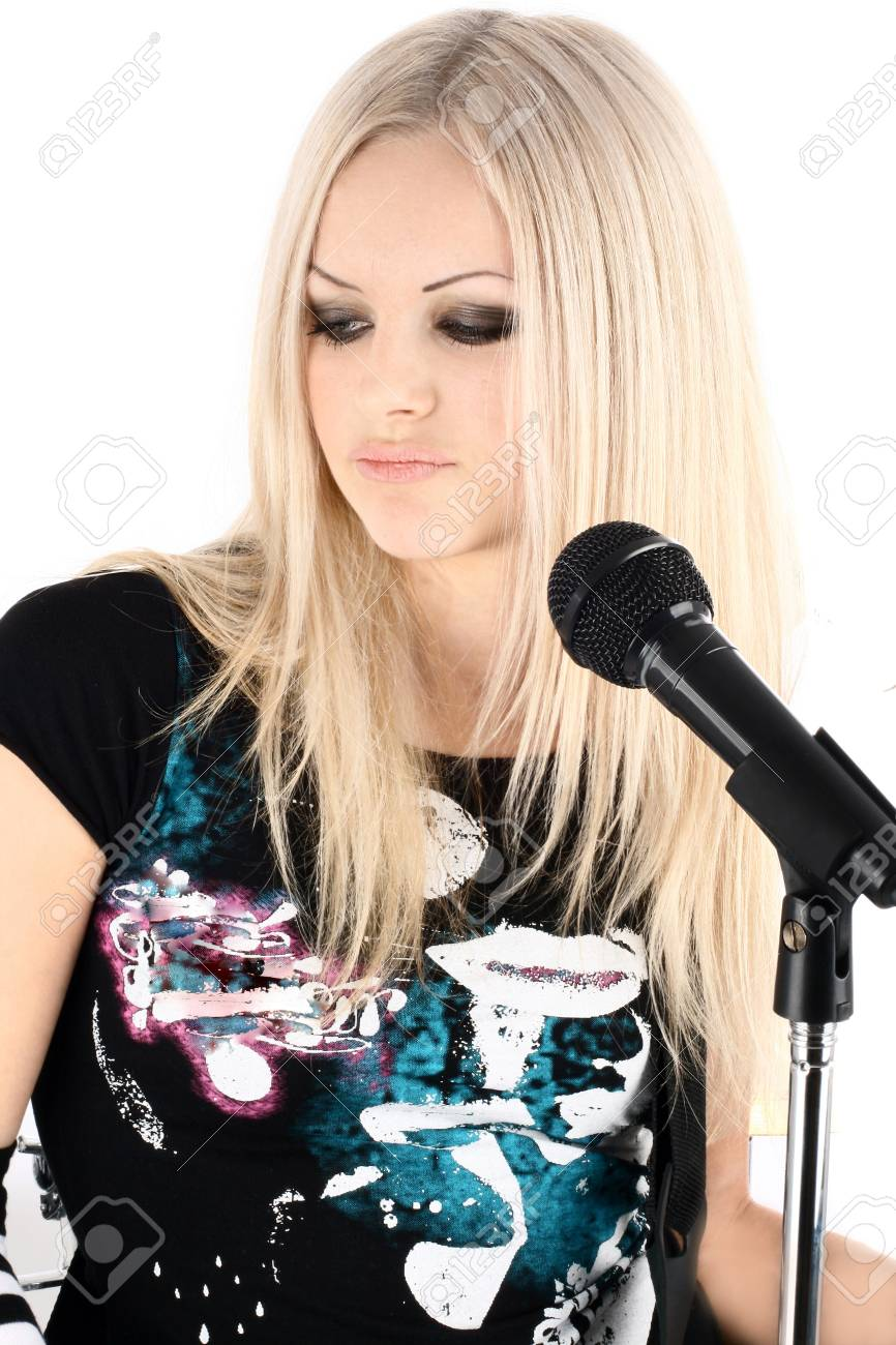 photo series in style rock-n-roll with the beautiful blonde Stock Photo - 4074905