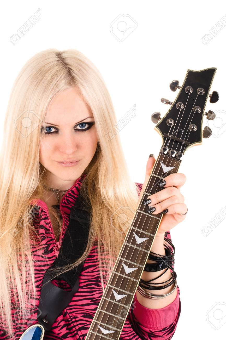 Series. The beautiful blonde with a guitar Stock Photo - 6461219