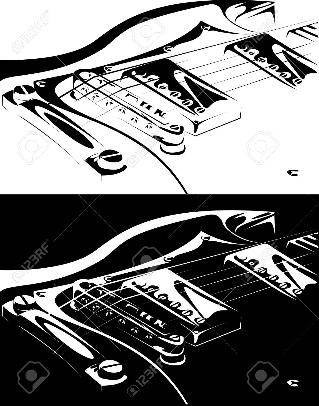 series. Electric guitar black-white version Stock Photo - 6586201