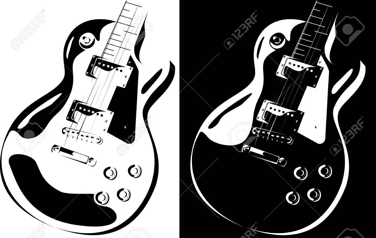 Contour Line Drawing Guitar : Series electric guitar black white version stock photo picture