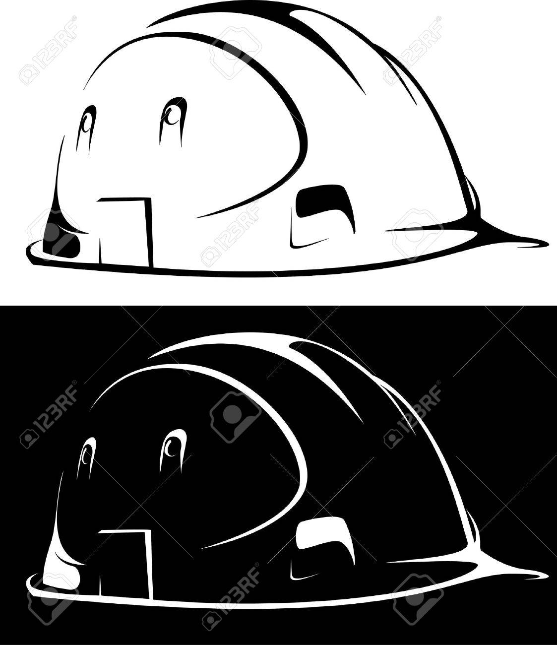construction workers hard hat on white and black background Stock Photo - 6586119