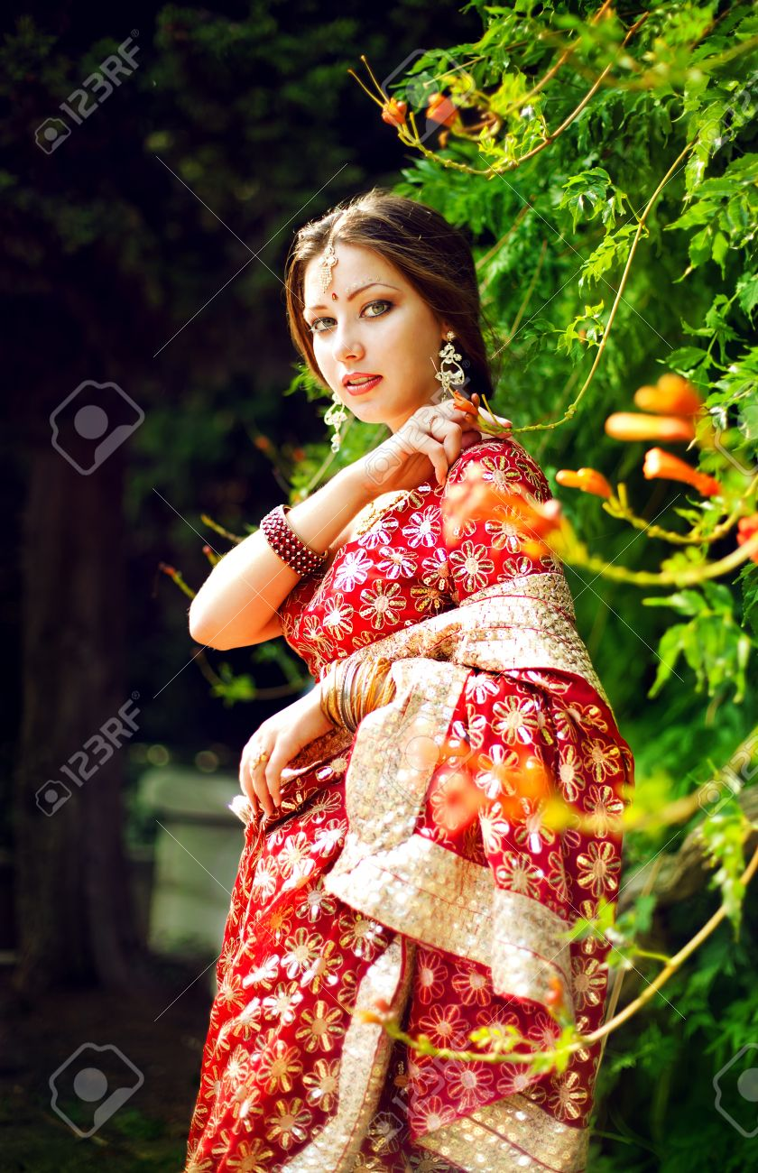 Series. young beautiful brunette in the indian national dress Stock Photo - 8628234