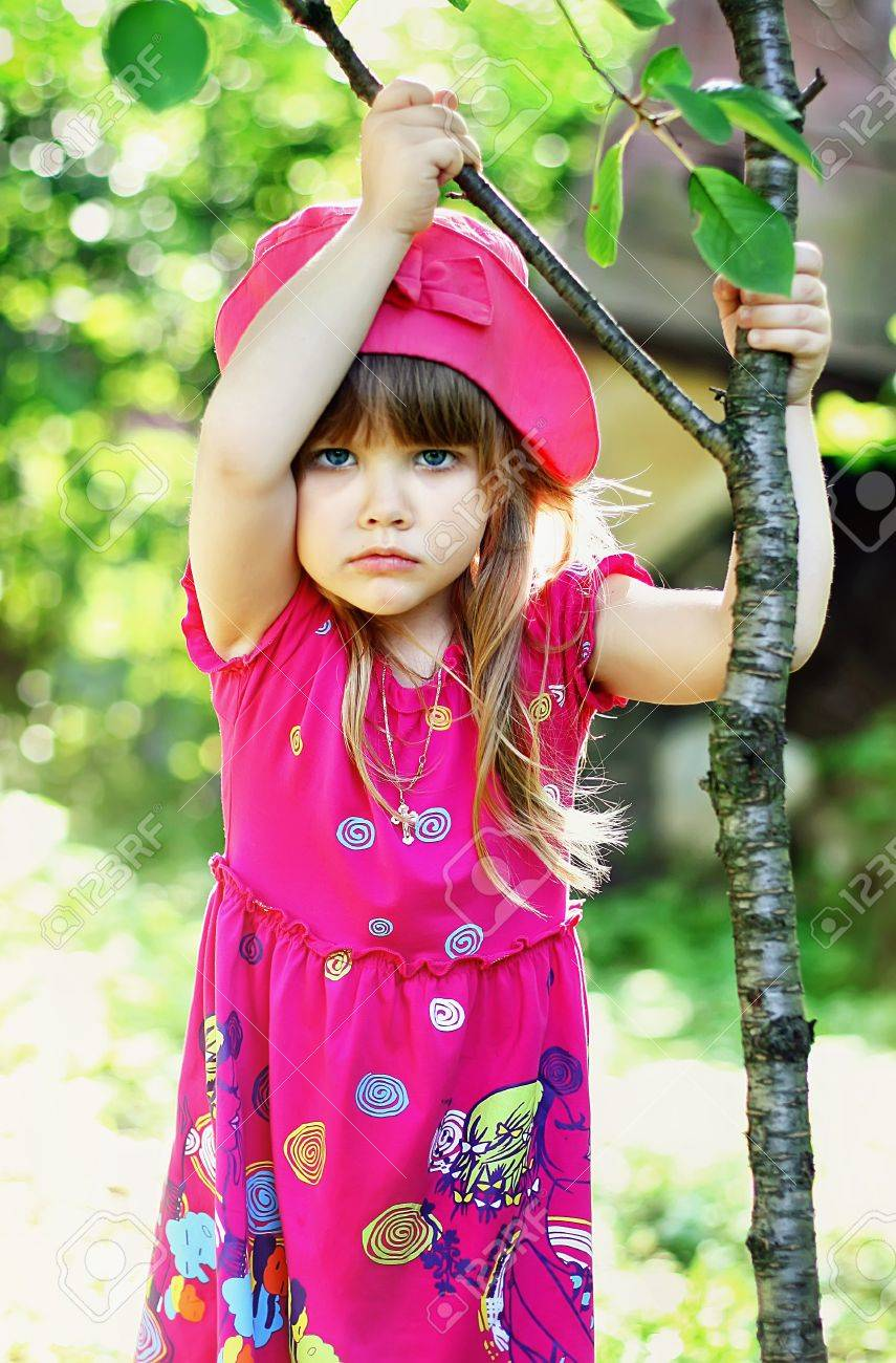 series. Rest of the little girl in village Stock Photo - 9322180