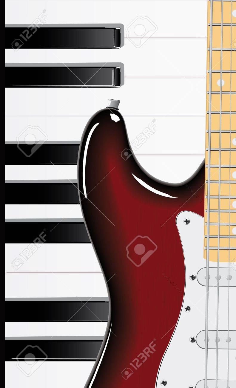 Vector series. Guitar and piano keyboard Stock Photo - 9618908